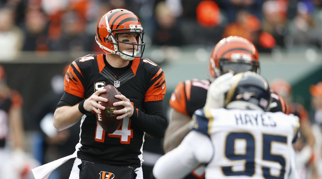 Cincinnati Bengals quarterback Andy Dalton (14) looks to pass in the first half of an NFL football game against the St. Louis Rams, Sunday, Nov. 29, 2015, in Cincinnati. (AP Photo/Gary Landers)
