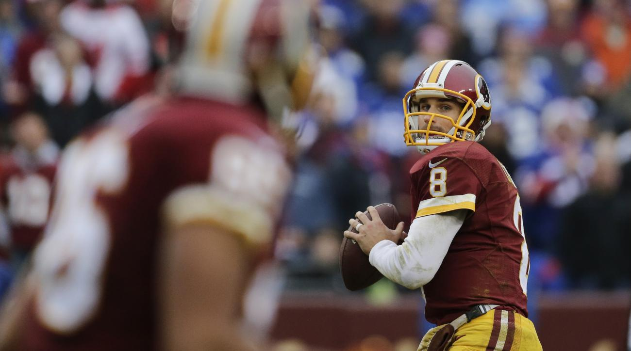 Washington Redskins quarterback Kirk Cousins (8) passes the ball during the first half of an NFL football game against the New York Giants in Landover, Md., Sunday, Nov. 29, 2015. The Redskins defeated the Giants 20-14. (AP Photo/Mark Tenally)
