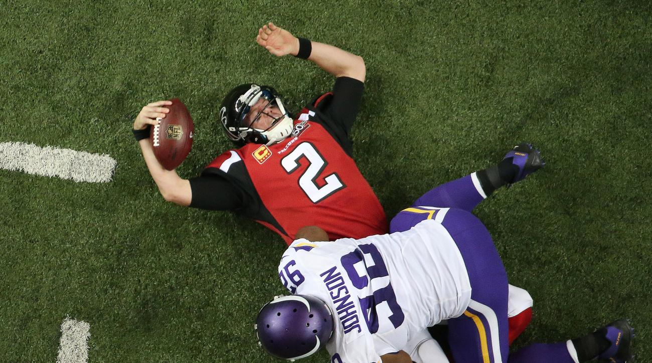 Atlanta Falcons quarterback Matt Ryan (2) lies on the field after being sacked against the Minnesota Vikings during the second half of an NFL football game, Sunday, Nov. 29, 2015, in Atlanta. The Minnesota Vikings won 20-10. (AP Photo/John Bazemore)