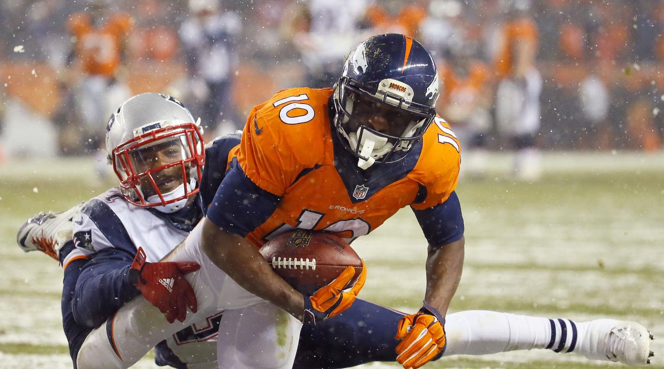 Denver Broncos wide receiver Emmanuel Sanders (10) pulls in a catch to set up a touchdown as New England Patriots middle linebacker Jerod Mayo (51) defends during the second half of an NFL football game, Sunday, Nov. 29, 2015, in Denver. (AP Photo/Jack De