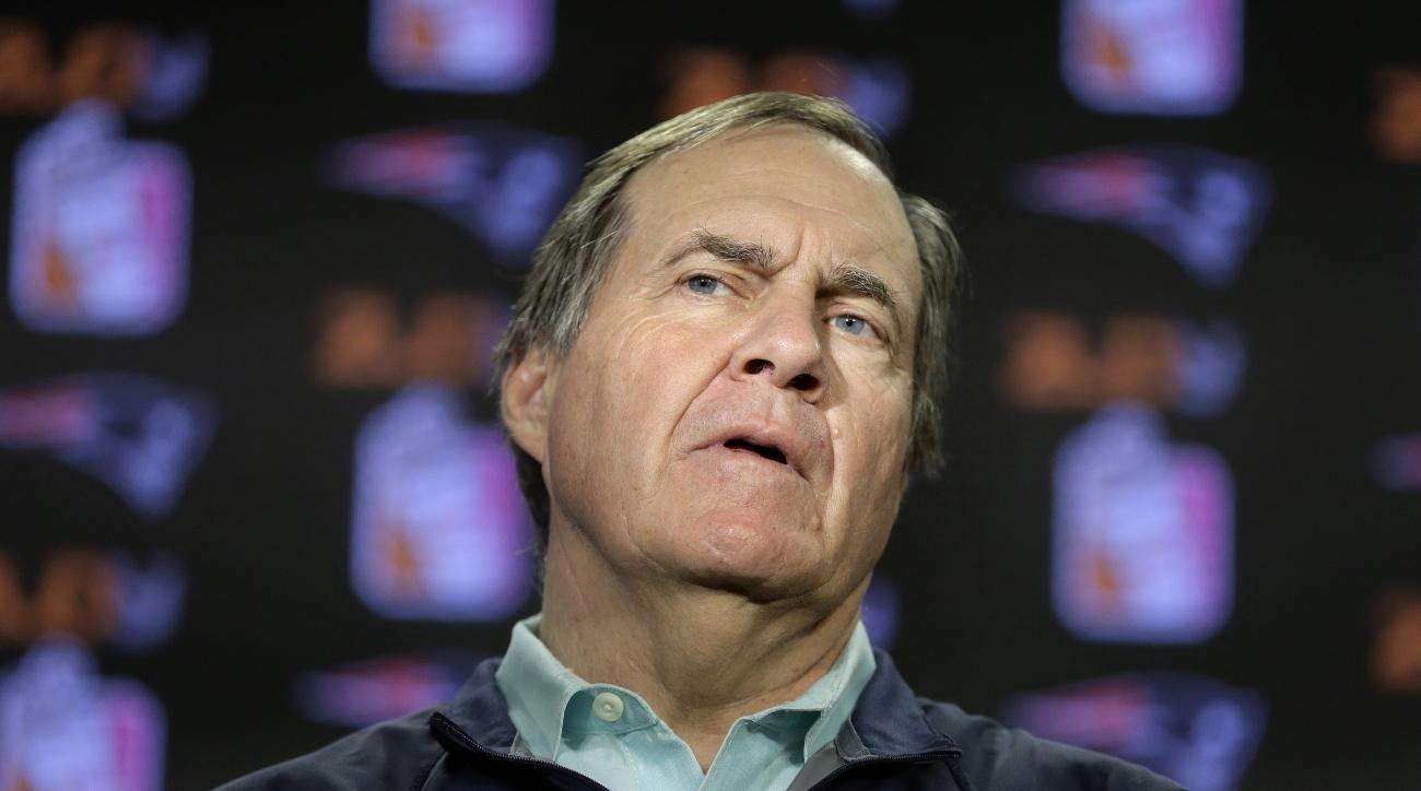 New England Patriots head coach Bill Belichick faces reporters during a news conference before a scheduled NFL football practice, Wednesday, Dec. 2, 2015, in Foxborough, Mass. The Patriots are to play the Philadelphia Eagles Sunday, Dec. 6, in Foxborough.