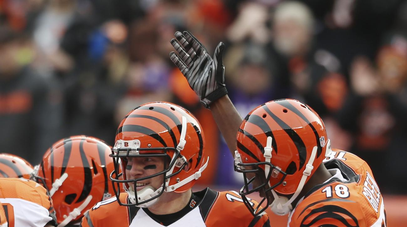 Cincinnati Bengals quarterback Andy Dalton (14) is congratulated by A.J. Green (18) after scoring a 3-yard touchdown in the first half of an NFL football game against the Cleveland Browns, Sunday, Dec. 6, 2015, in Cleveland. (AP Photo/Ron Schwane)