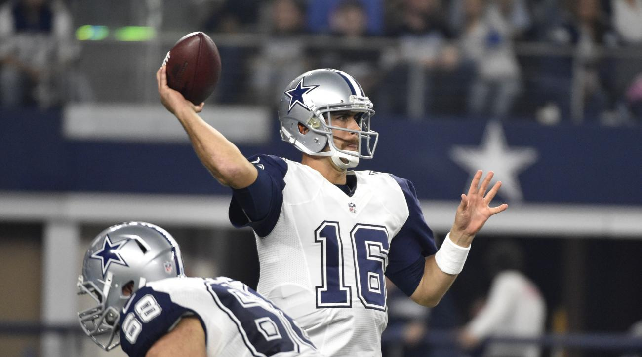 FILE - In this Thursday, Nov. 26, 2015, file photo, Dallas Cowboys quarterback Matt Cassel (16) throws a pass during the second half of an NFL football game against the Carolina Panthers, in Arlington, Texas. On Monday, Dec. 7, 2015, the Washington Redski
