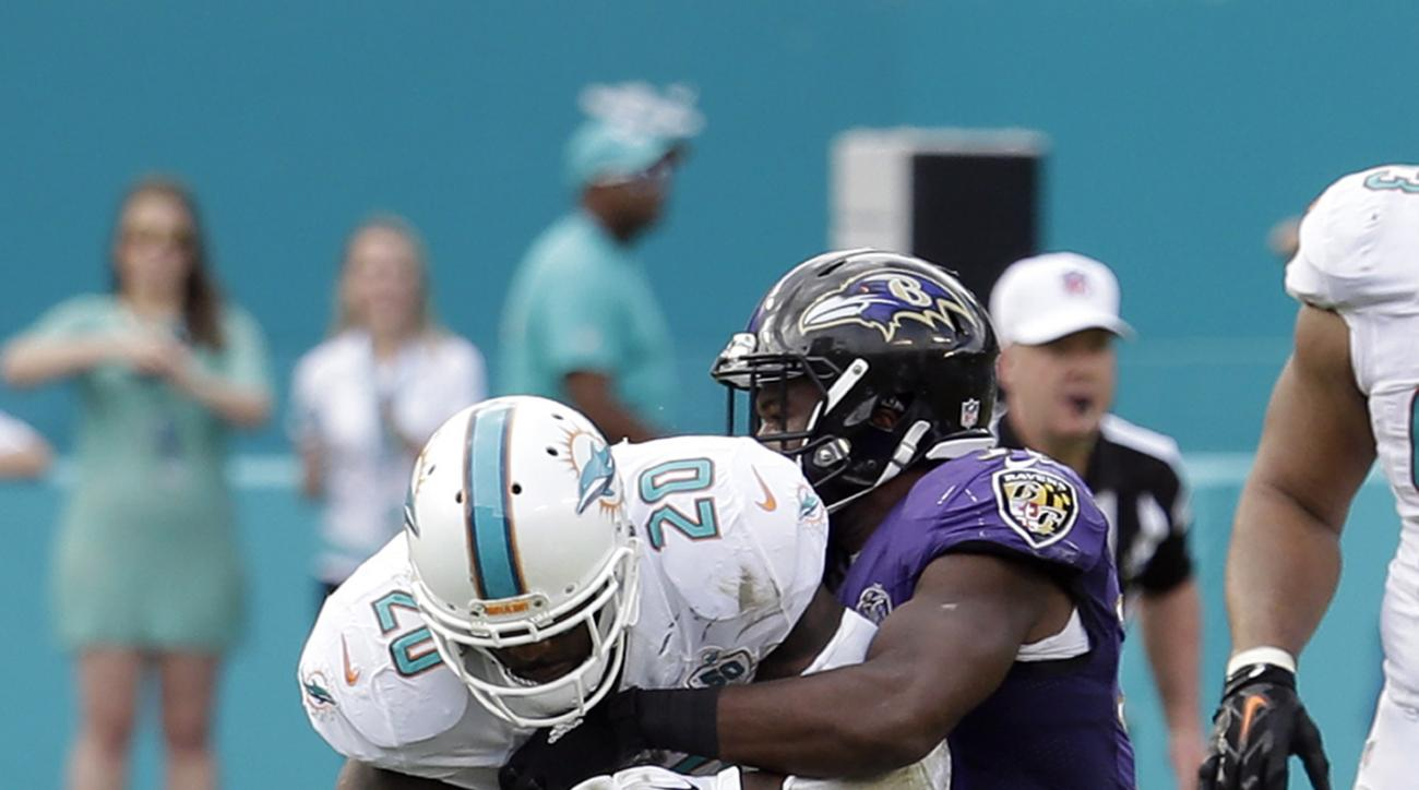 Miami Dolphins strong safety Reshad Jones (20) intercepts the ball intended for Baltimore Ravens running back Javorius Allen (37) defends during the first half of an NFL football game, Sunday, Dec. 6, 2015, in Miami Gardens, Fla.  (AP Photo/Lynne Sladky)