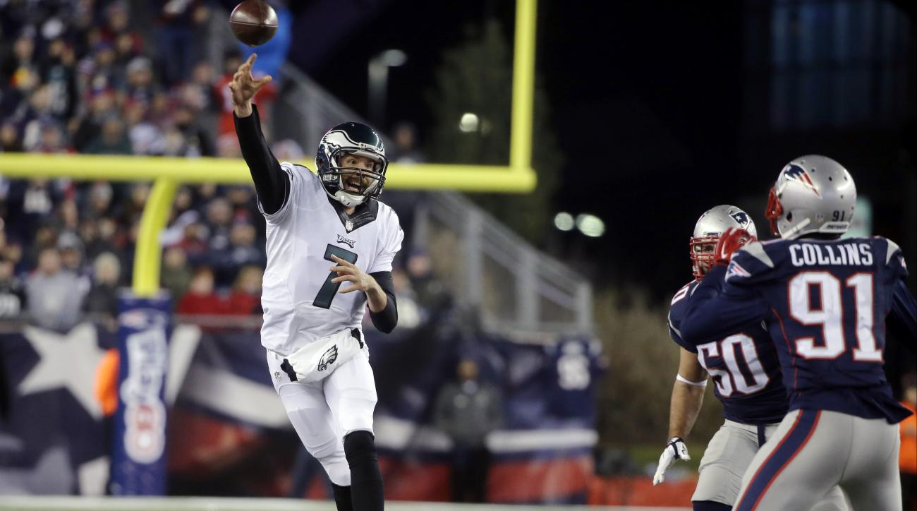 Philadelphia Eagles quarterback Sam Bradford (7) passes over New England Patriots linebacker Jamie Collins (91) during the second half of an NFL football game, Sunday, Dec. 6, 2015, in Foxborough, Mass. (AP Photo/Steven Senne)