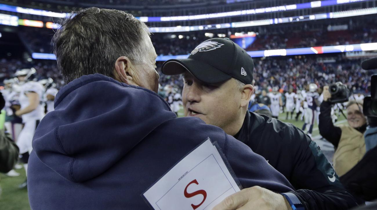 New England Patriots head coach Bill Belichick, left, speaks to Philadelphia Eagles head coach Chip Kelly after the Eagles beat the Patriots 35-28 in an NFL football game, Sunday, Dec. 6, 2015, in Foxborough, Mass. (AP Photo/Charles Krupa)