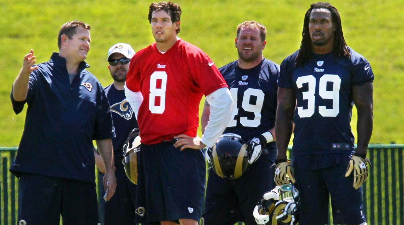 In this April 12, 2012, photo, St. Louis Rams quarterback Sam Bradford (8) talks with tight ends coach Rob Boras, left,  during a mini camp in St. Louis. Boras replaces Frank Cignetti, who was fired Monday, Dec. 7, 2015, as offensive coordinator. (Emily R