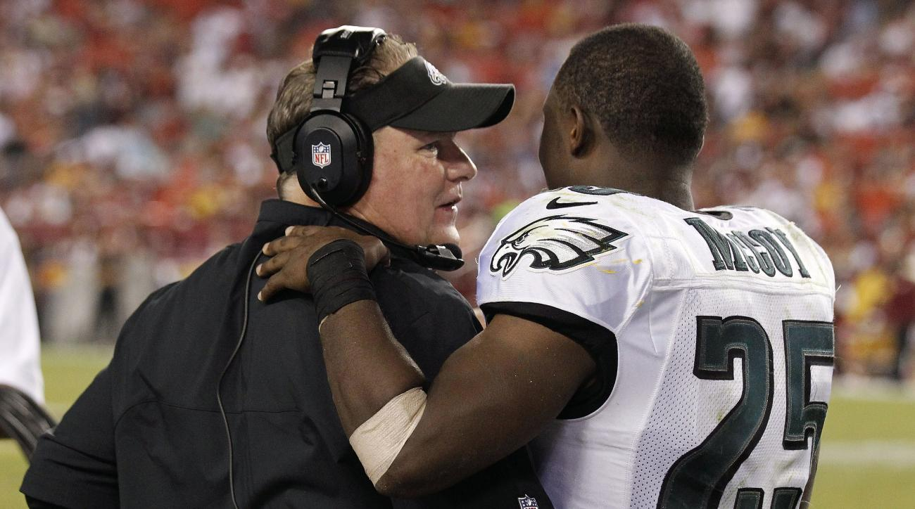 FILE - In this Sept. 9, 2013, file photo, Philadelphia Eagles head coach Chip Kelly talks with then-Eagles running back LeSean McCoy (25) along the sidelines during the second half of an NFL football game against the Washington Redskins in Landover, Md. D