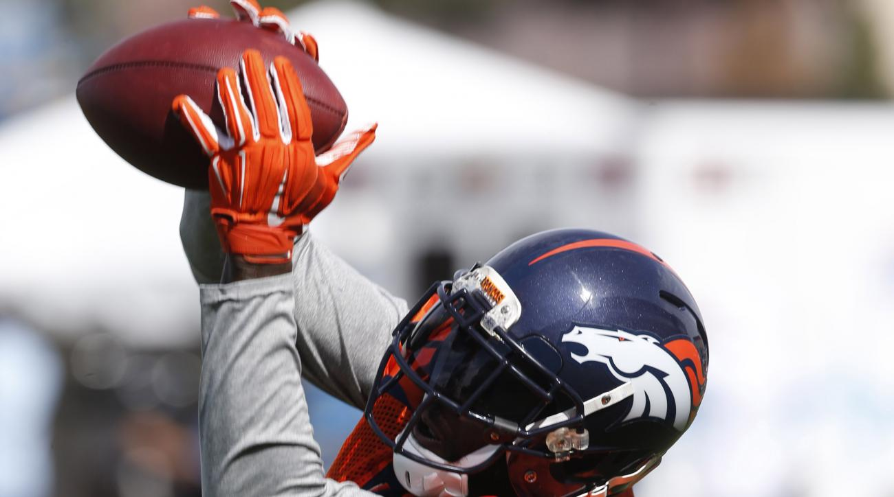 FILE - In this Friday, Aug. 7, 2015, file photo, Denver Broncos defensive back Darian Stewart pulls in a pass during drills at the team's NFL football training camp in Englewood, Colo. Stewart, who followed head coach Gary Kubiak from Baltimore to Denver