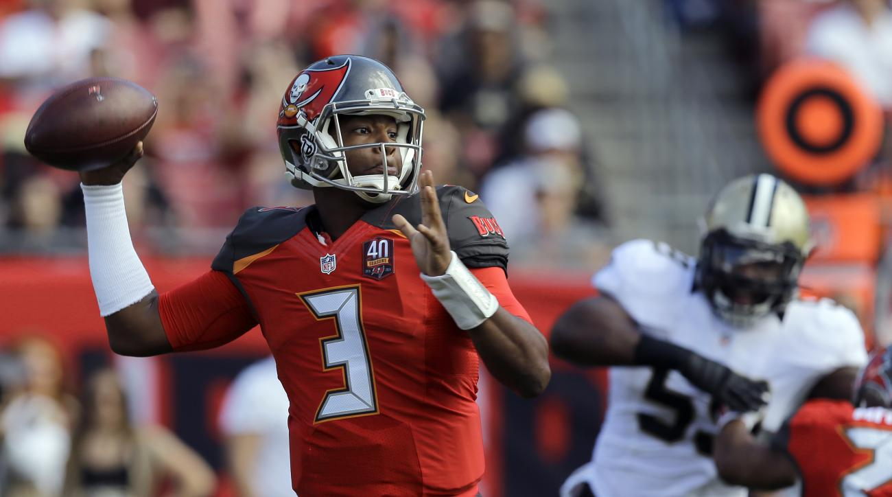 Tampa Bay Buccaneers quarterback Jameis Winston (3) throws a pass against the New Orleans Saints during the first quarter of an NFL football game Sunday, Dec. 13, 2015, in Tampa, Fla. (AP Photo/Chris O'Meara)