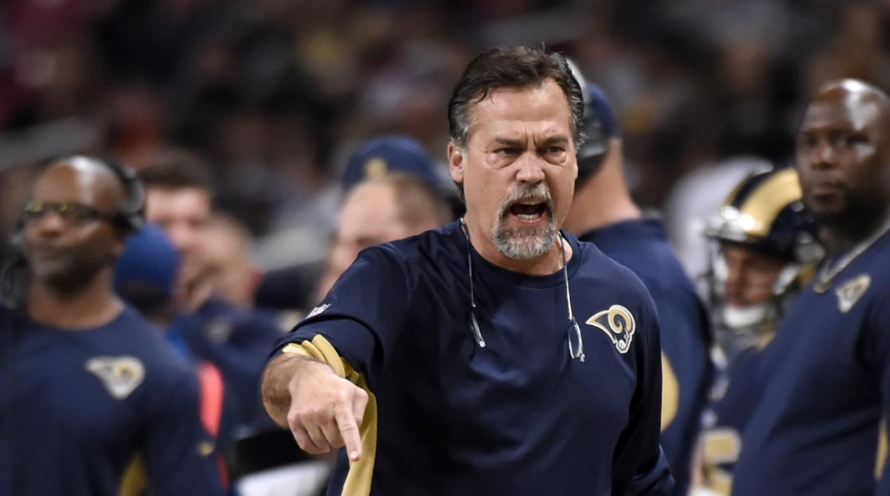 St. Louis Rams head coach Jeff Fisher yells from the sidelines during the third quarter of an NFL football game against the Detroit Lions Sunday, Dec. 13, 2015, in St. Louis. (AP Photo/L.G. Patterson)