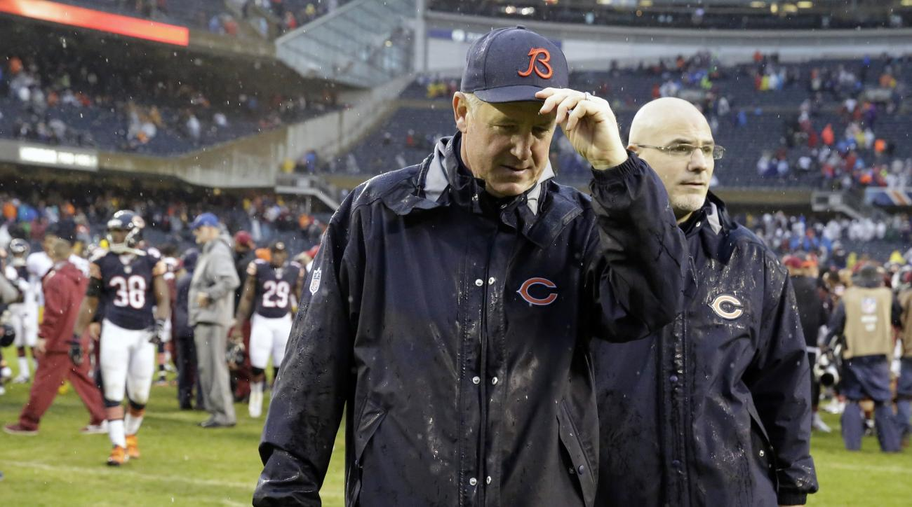 Chicago Bears head coach John Fox walks off the field after an NFL football game against the Washington Redskins, Sunday, Dec. 13, 2015, in Chicago. The Redskins won 24-21. (AP Photo/Nam Y. Huh)