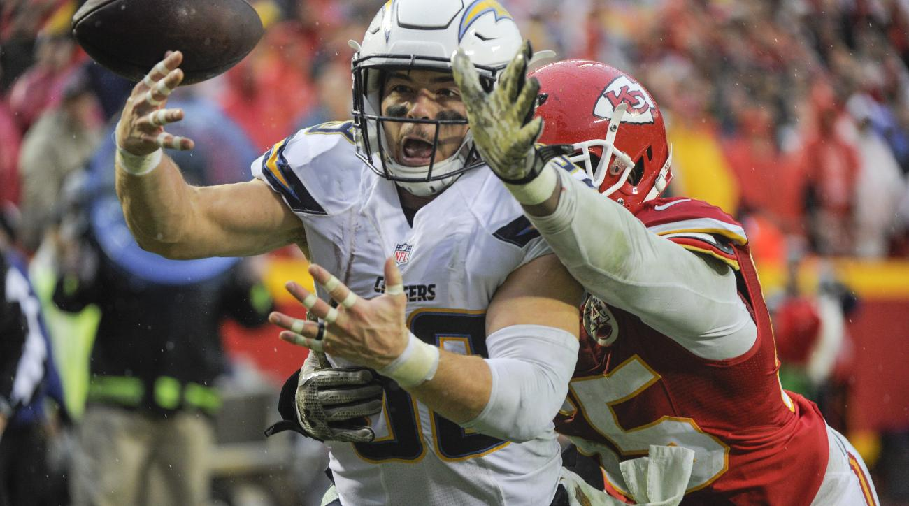 The pass to San Diego Chargers running back Danny Woodhead, left, is broken up by Kansas City Chiefs linebacker Dee Ford (55) on the last play of the second half of an NFL football game in Kansas City, Mo., Sunday, Dec. 13, 2015. The Kansas City Chiefs wo