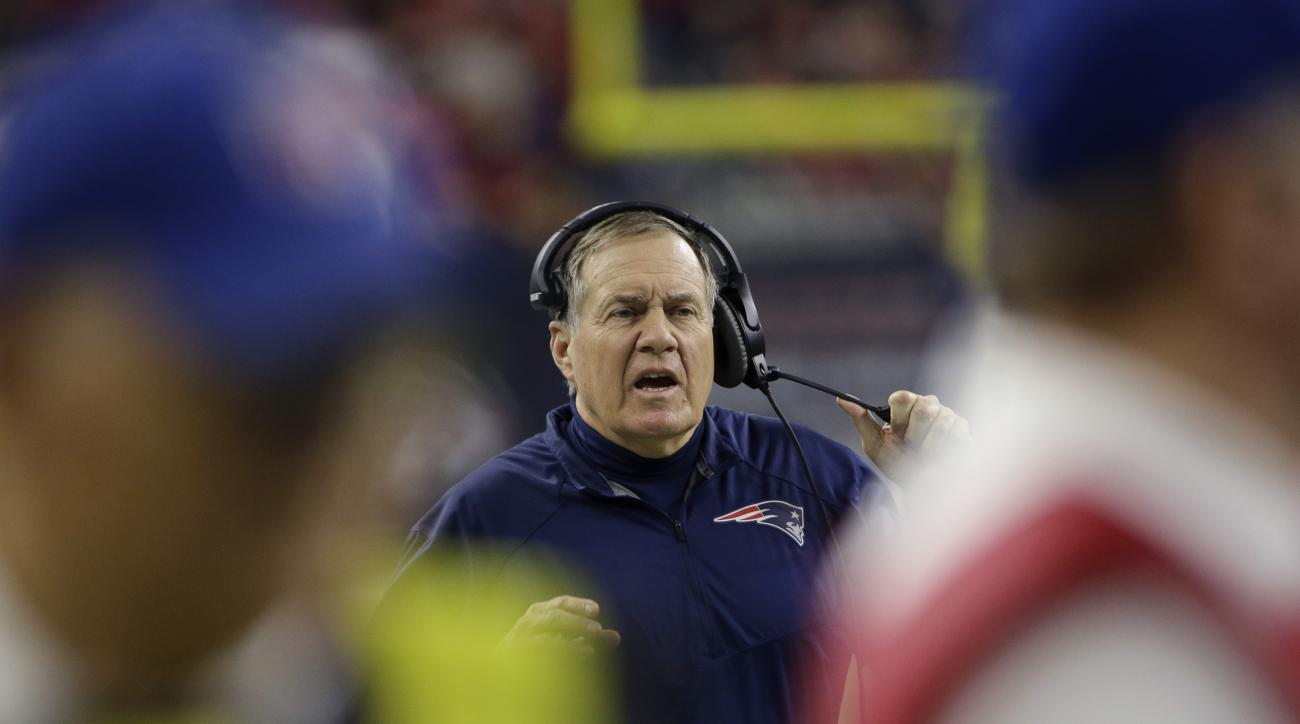 New England Patriots head coach Bill Belichick watches from the sideline during the first half of an NFL football game against the Houston Texans, Sunday, Dec. 13, 2015, in Houston. (AP Photo/David J. Phillip)