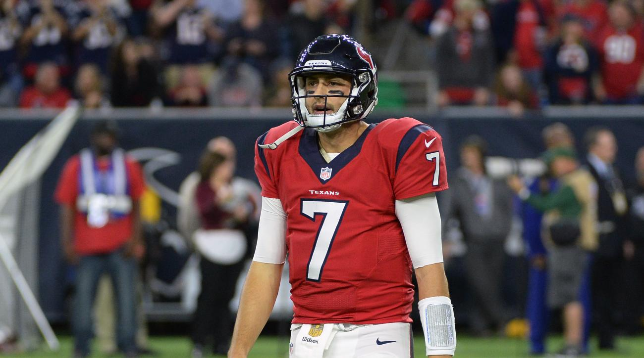 Houston Texans quarterback Brian Hoyer (7) walks off the field after an incomplete pass during the second half of an NFL football game against the New England Patriots, Sunday,  Dec. 13, 2015, in Houston. (AP Photo/George Bridges)