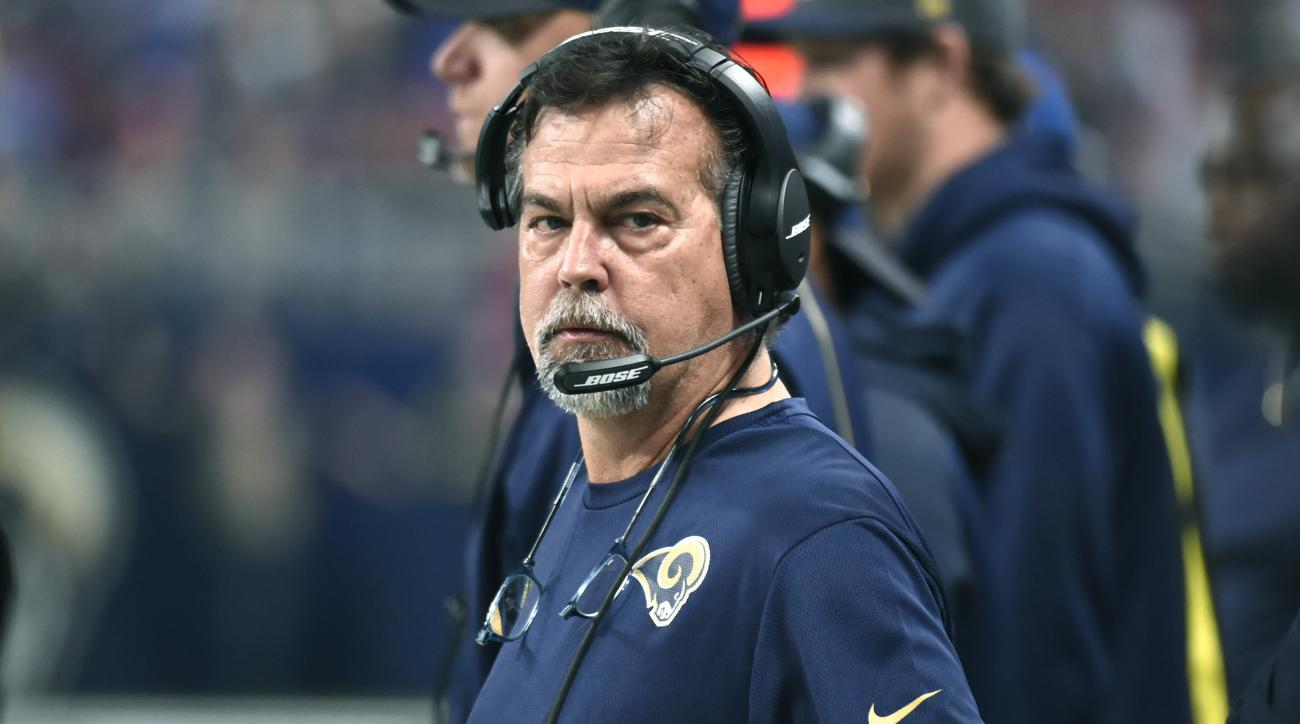 FILE - In this Sunday, Dec. 13, 2015 file photo, St. Louis Rams head coach Jeff Fisher watches from the sidelines during the first quarter of an NFL football game against the Detroit Lions in St. Louis. Jeff Fisher maintains it's just another game. And no