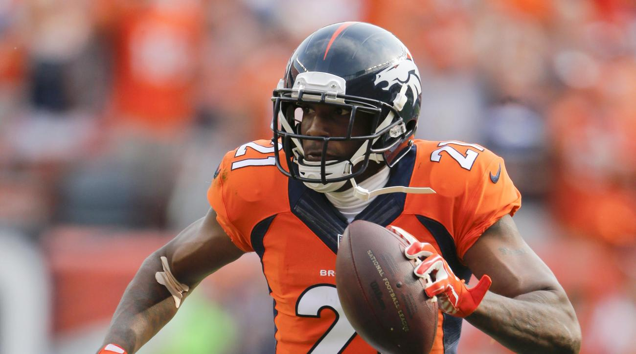 FILE - In this Sept. 13, 2015, file photo, Denver Broncos cornerback Aqib Talib scores against the Baltimore Ravens during the second half of an NFL football game in Denver. The Steelers at 8-5 need to keep winning to keep a playoff hope alive while a win
