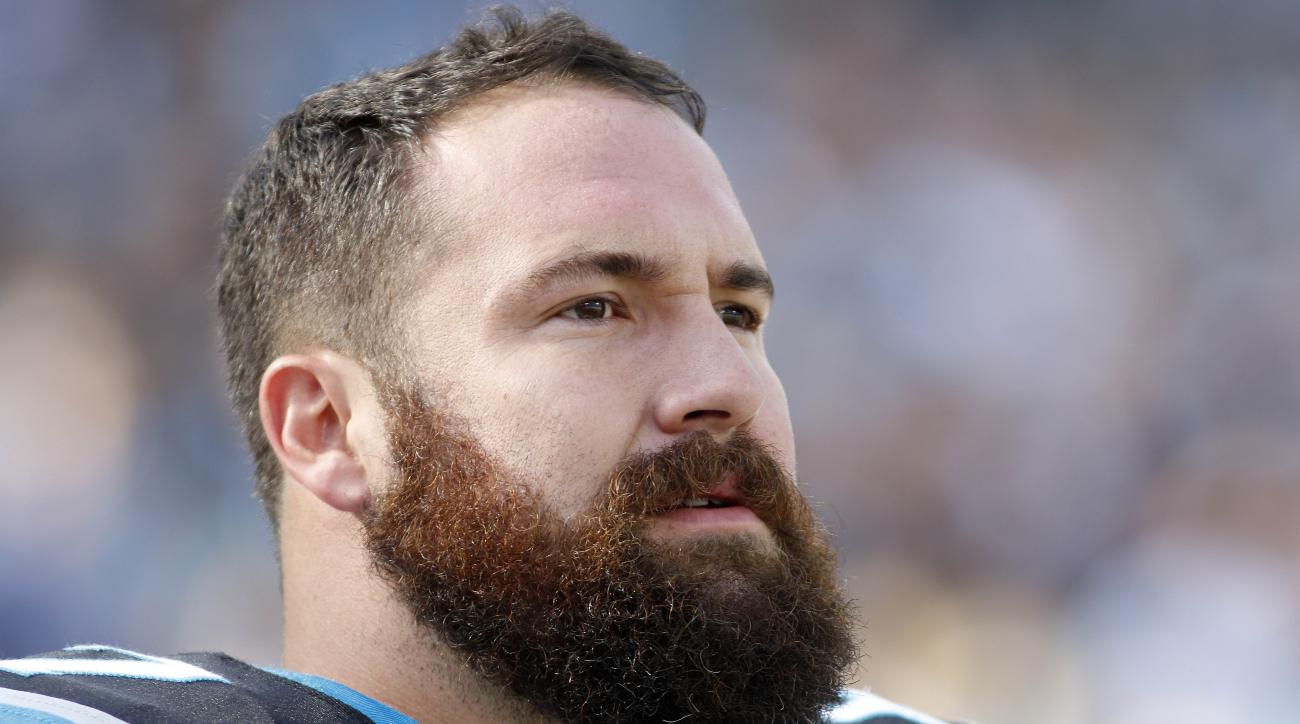 FILE - In this Dec. 13, 2015, file photo, Carolina Panthers' Ryan Kalil is shown before an NFL football game against the Atlanta Falcons in Charlotte, N.C. It's not the Super Bowl shuffle, but the unbeaten Carolina Panthers got in some off-the-field bondi