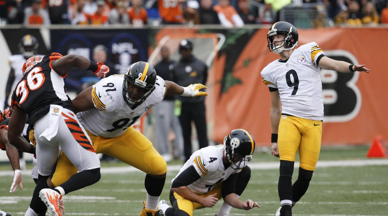 FILE - In this Dec. 13, 2015, file photo, Pittsburgh Steelers kicker Chris Boswell (9) watches after booting a field goal in the first half of an NFL football game against the Cincinnati Bengals, in Cincinnati. Chris Boswell began the season looking for a