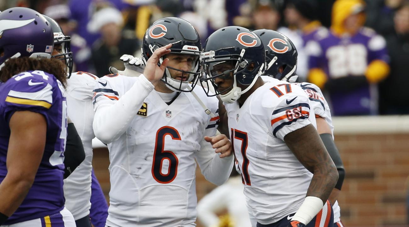 Chicago Bears quarterback Jay Cutler (6) congratulates wide receiver Alshon Jeffery (17), after his 10-yard pass for a touchdown during the first half of an NFL football game against the Minnesota Vikings, Sunday, Dec. 20, 2015, in Minneapolis. (AP Photo/