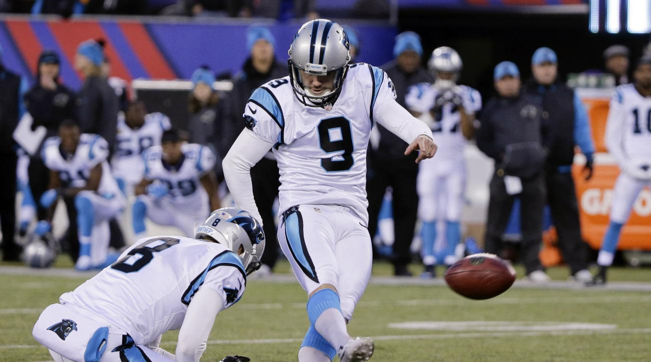 Carolina Panthers' Graham Gano (9) kicks a field goal to win during the second half of an NFL football game against the New York Giants Sunday, Dec. 20, 2015, in East Rutherford, N.J. The Panthers won 38-35. (AP Photo/Julie Jacobson)