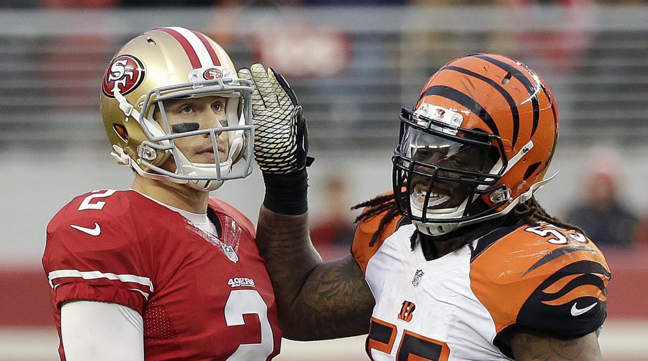 Cincinnati Bengals outside linebacker Vontaze Burfict (55) approaches San Francisco 49ers quarterback Blaine Gabbert (2) during the second half of an NFL football game in Santa Clara, Calif., Sunday, Dec. 20, 2015. (AP Photo/Eric Risberg)