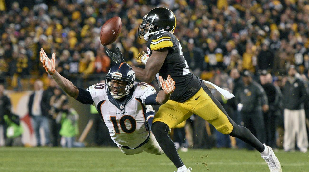 Pittsburgh Steelers cornerback William Gay (22) breaks up a pass intended for Denver Broncos wide receiver Emmanuel Sanders (10) during the second half of an NFL football game in Pittsburgh, Sunday, Dec. 20, 2015. The Steelers won 34-27. (AP Photo/Don Wri