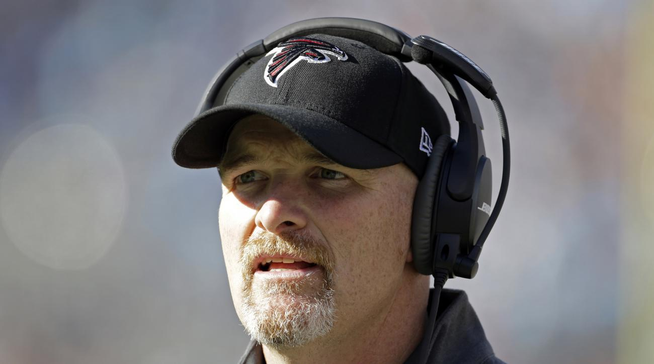 FILE - In this Dec. 13, 2015, file photo, Atlanta Falcons head coach Dan Quinn directs his team against the Carolina Panthers in the first half of an NFL football game in Charlotte, N.C.  After the Falcons won for the first time in seven weeks, first-year