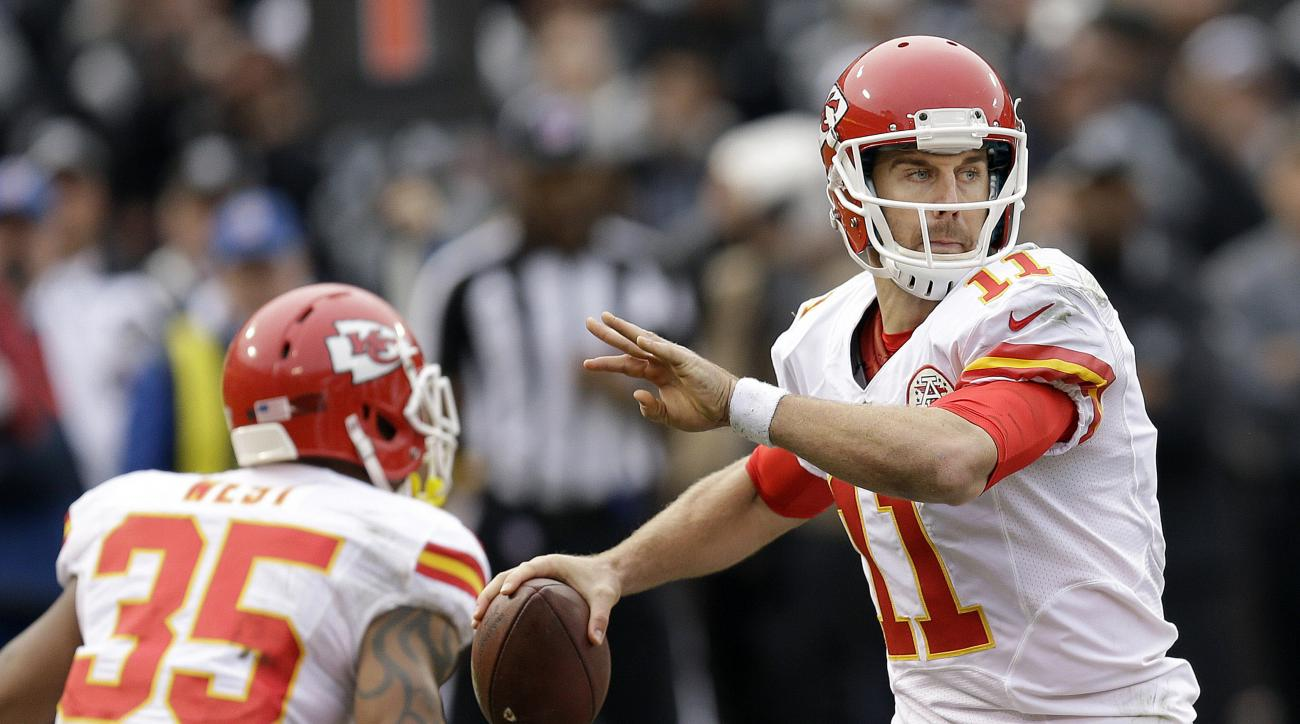 FILE - In this Sunday, Dec. 6, 2015. file photo, Kansas City Chiefs quarterback Alex Smith (11) passes against the Oakland Raiders during the first half of an NFL football game in Oakland, Calif. He was supposed to be the savior of a downtrodden franchise