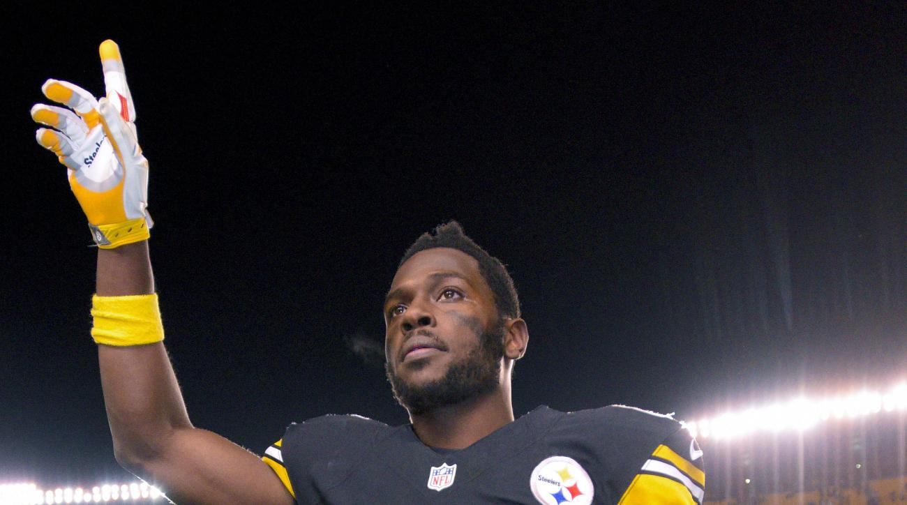 FILE - In this file photo from Dec. 20, 2015, Pittsburgh Steelers wide receiver Antonio Brown (84) waves to fans after an NFL football game against the Denver Broncos, in Pittsburgh. Forget the meme-generating touchdown celebrations, the real story of Pit