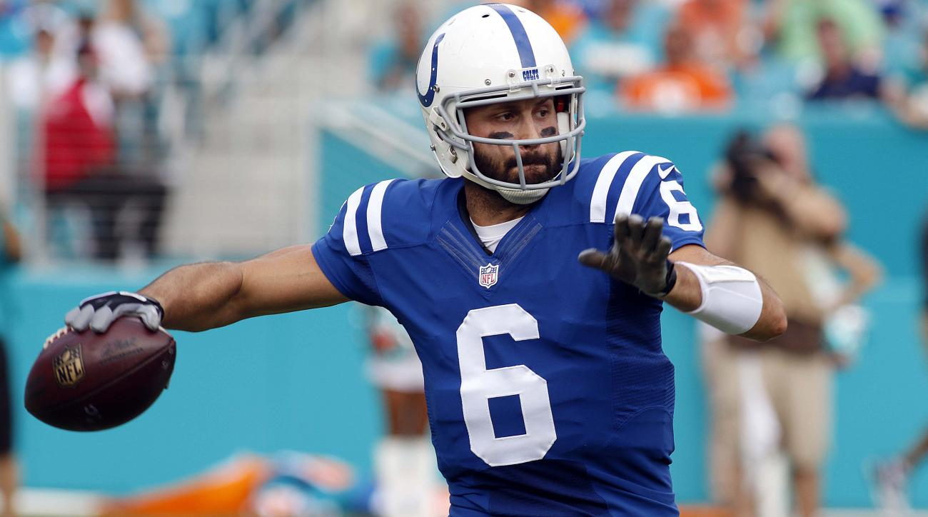 Indianapolis Colts quarterback Charlie Whitehurst (6) looks to pass during the second half of an NFL football game against the Miami Dolphins, Sunday, Dec. 27, 2015, in Miami Gardens, Fla.  (AP Photo/Joe Skipper)