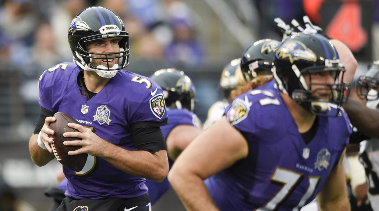 File-This Nov. 22, 2015, file photo shows Baltimore Ravens quarterback Joe Flacco (5) looking for a receiver in the second half of an NFL football game against the St. Louis Rams in Baltimore. (AP Photo/Nick Wass, File)