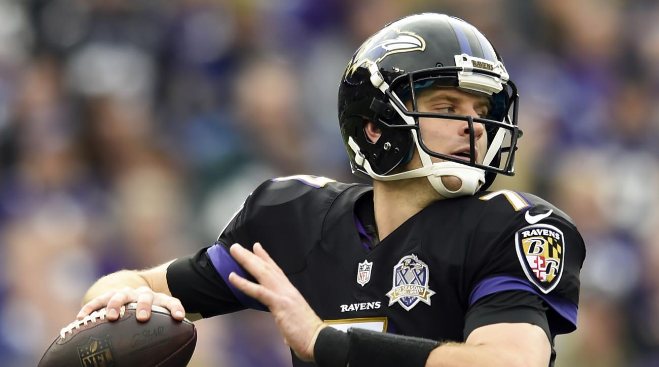 FILE - In this Sunday, Dec. 27, 2015, file photo, Baltimore Ravens quarterback Ryan Mallett passes the ball during the first half of an NFL football game against the Pittsburgh Steelers in Baltimore. After leading the Ravens to a win against the Steelers,