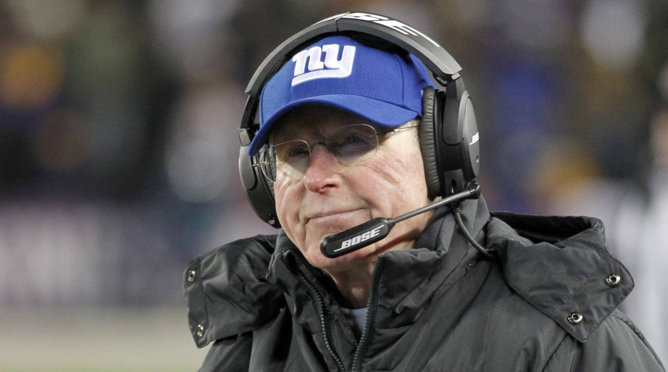 FILE - In this Sunday, Dec. 27, 2015, file photo, New York Giants head coach Tom Coughlin watches from the sidelines during the second half of an NFL football game against the Minnesota Vikings in Minneapolis. Missing the playoffs for a fourth straight se