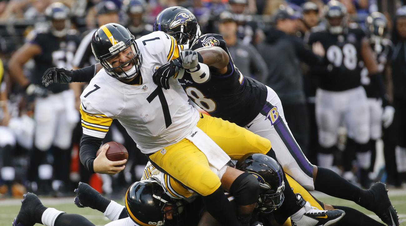 FILE - In this Sunday, Dec. 27, 2015, Pittsburgh Steelers quarterback Ben Roethlisberger (7) is sacked by Baltimore Ravens outside linebacker Elvis Dumervil (58) during the second half of an NFL football game in Baltimore. The Steelers' high-powered offen