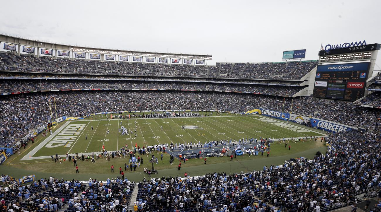 FILE - In this Oct. 25, 2015, file photo, fans watch the San Diego Chargers play the Oakland Raiders during the second half of an NFL football game at Qualcomm Stadium in San Diego. City and county officials have made their final pitch to the NFL in what