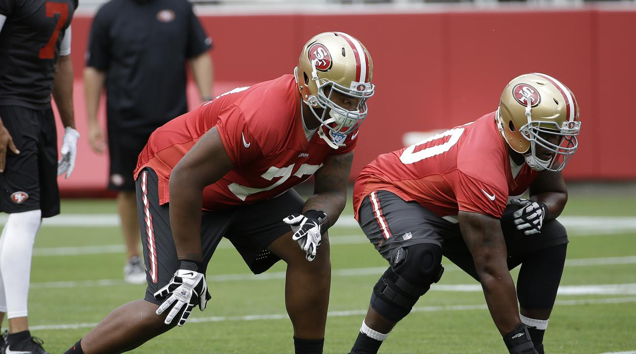 FILE - In this June 9, 2015, file photo, San Francisco 49ers offensive linemen Trent Brown, left, and Brandon Thomas line up during an NFL football mini-camp in Santa Clara, Calif.  Brown, the 49ers' seventh-round draft pick out of Florida this year, has