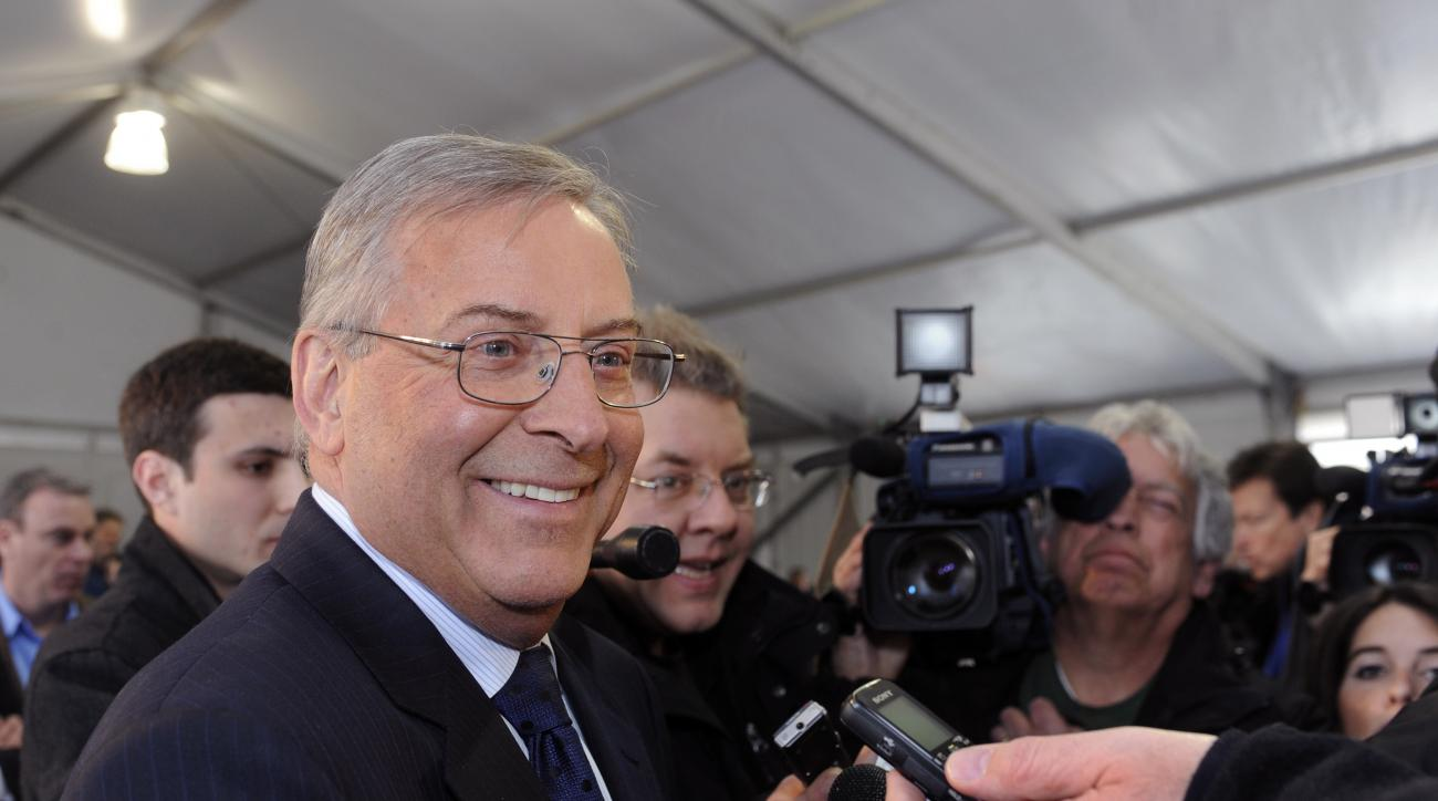 Buffalo Sabres' owner Terry Pegula reacts to a question with reporters during a groundbreaking ceremony at First Niagara Center before an NHL hockey game against the Philadelphia Flyers in Buffalo, N.Y., Saturday, April 13, 2013. (AP Photo/Gary Wiepert)