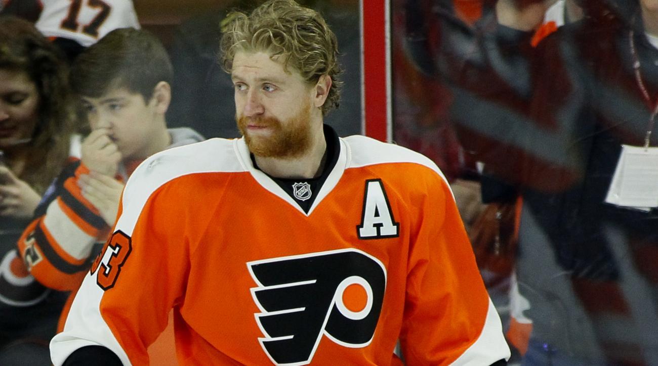 Philadelphia Flyers' Jakub Voracek during warm-ups prior to the start of an NHL hockey game Thursday, April 9, 2015, in Philadelphia. (AP Photo/Tom Mihalek)