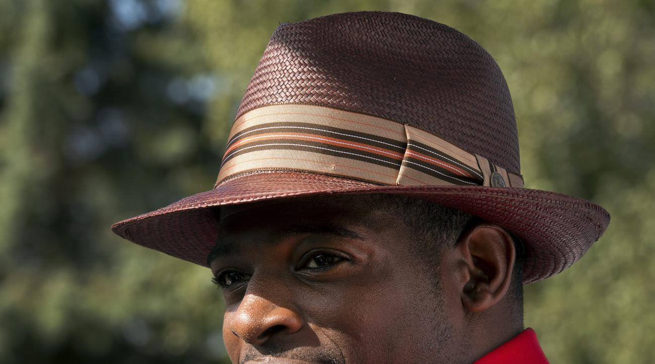 Montreal Canadiens defenseman P.K. Subban speaks to the media before the annual team charity golf tournament Thursday, Sept. 10, 2015, in Laval, Quebec. (Ryan Remiorz/The Canadian Press via AP)