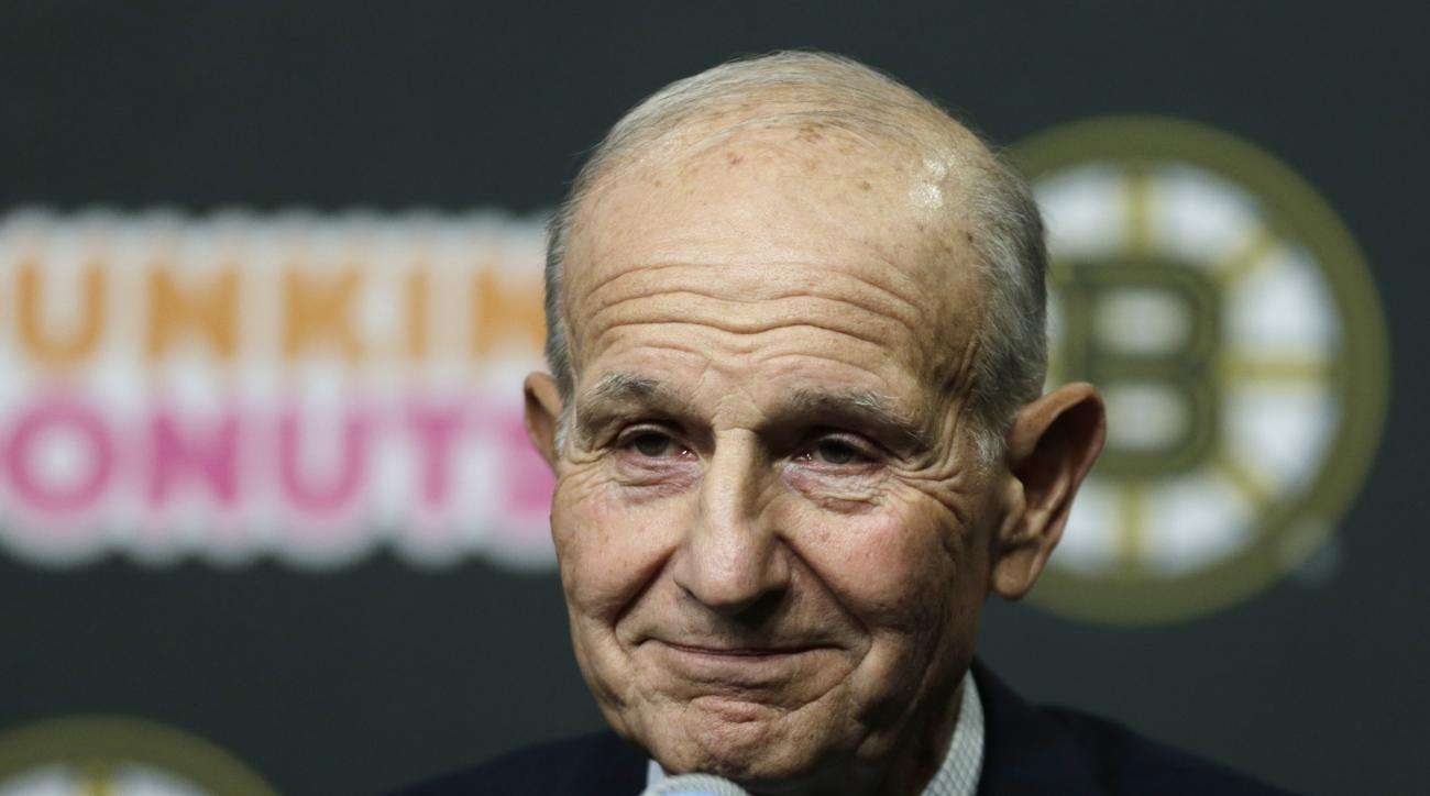 Boston Bruins owner Jeremy Jacobs listens to a reporter's question during a news conference in Boston, Tuesday, May 20, 2014. The Bruins were eliminated from the NHL hockey playoffs by the Montreal Canadiens. (AP Photo/Charles Krupa)