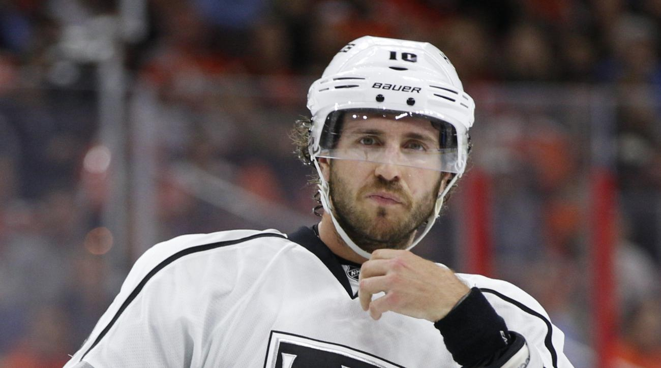 FILE - This is an Oct. 28, 2014, file photo showing Los Angeles Kings' Mike Richards during the first period of an NHL hockey game against the Philadelphia Flyers in Philadelphia. A former Philadelphia Flyers captain and two-time Stanley Cup champion with