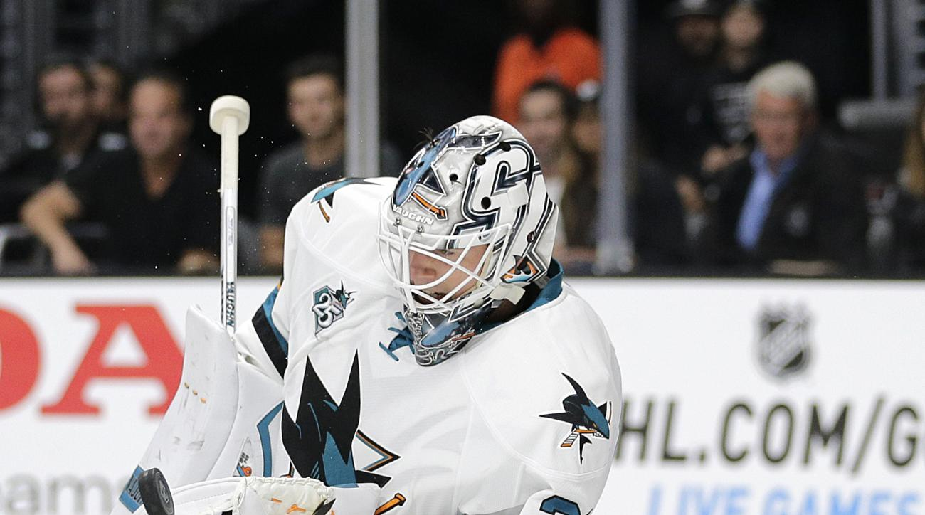 San Jose Sharks goalie Martin Jones makes a save during the second period of an NHL hockey game against the Los Angeles Kings, Wednesday, Oct. 7, 2015, in Los Angeles. (AP Photo/Jae C. Hong)