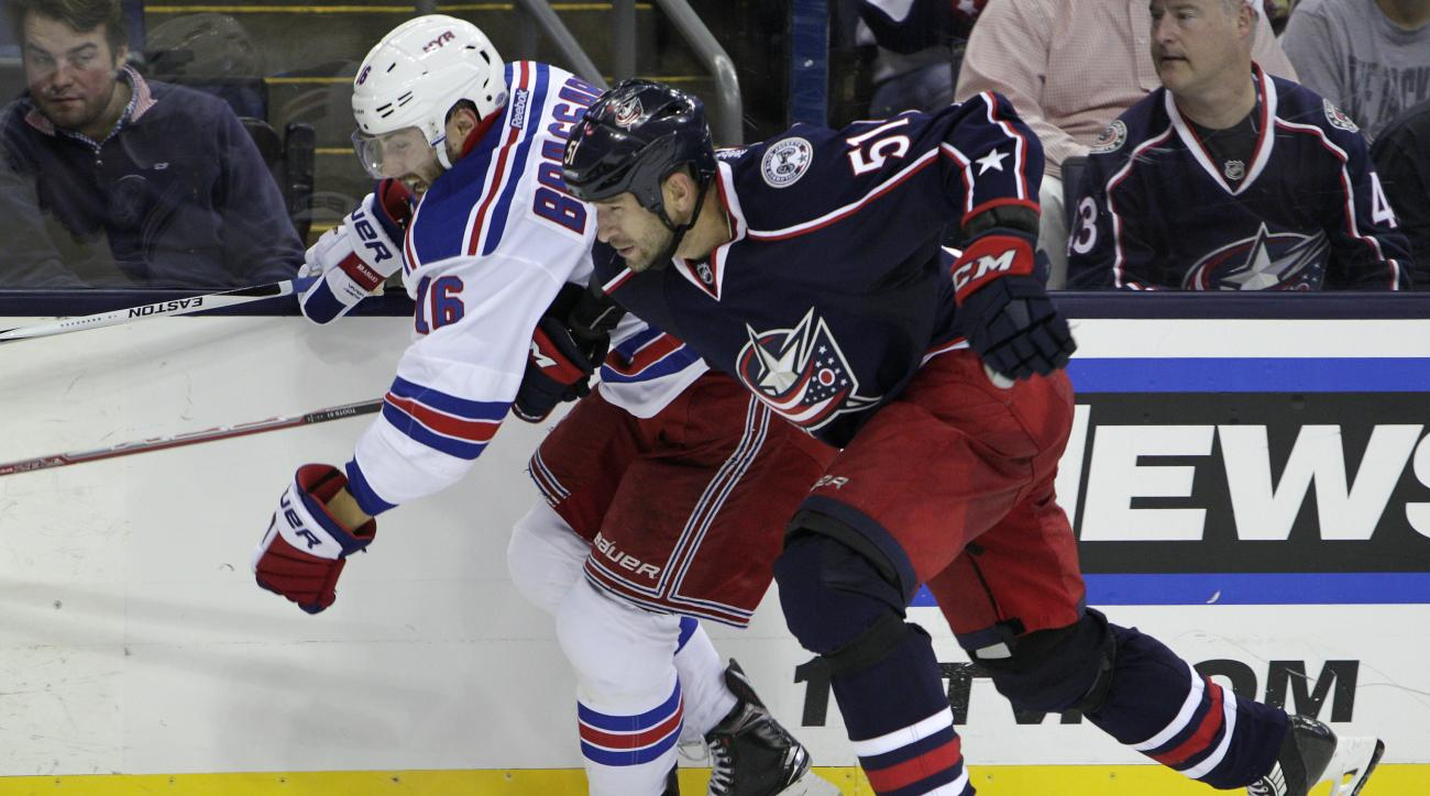 New York Rangers' Derick Brassard, left, and Columbus Blue Jackets' Fedor Tyutin, of Russia, chase a loose puck during the third period of an NHL hockey game Friday, Oct. 9, 2015, in Columbus, Ohio. The Rangers beat the Blue Jackets 4-2. (AP Photo/Jay LaP