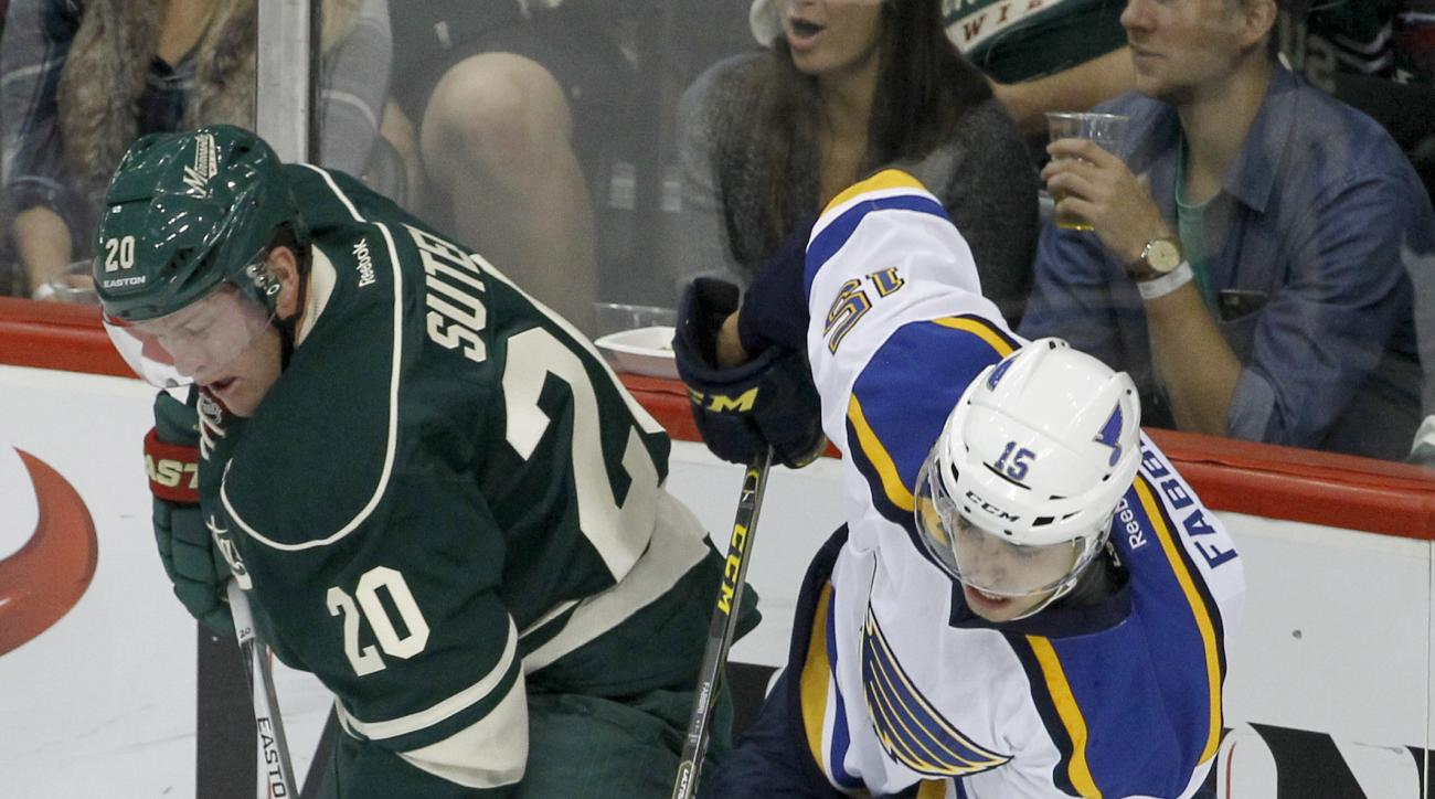 Minnesota Wild defenseman Ryan Suter (20) controls the puck in front of St. Louis Blues center Robby Fabbri (15) during the first period of an NHL hockey game in St. Paul, Minn., Saturday, Oct. 10, 2015. (AP Photo/Ann Heisenfelt)