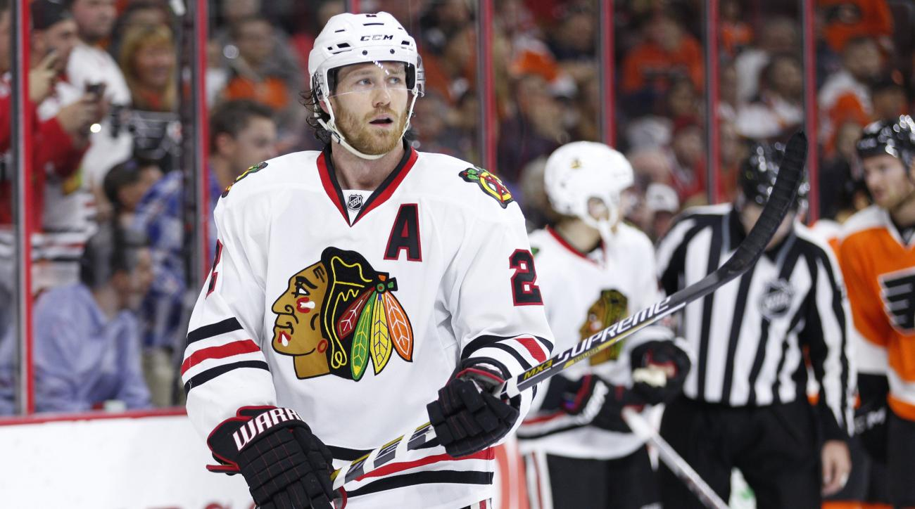 Chicago Blackhawks defenseman Duncan Keith looks on during the first period of a hockey game against the Philadelphia Flyers, Wednesday, Oct. 14, 2015, in Philadelphia. The Flyers won 3-0. (AP Photo/Chris Szagola)
