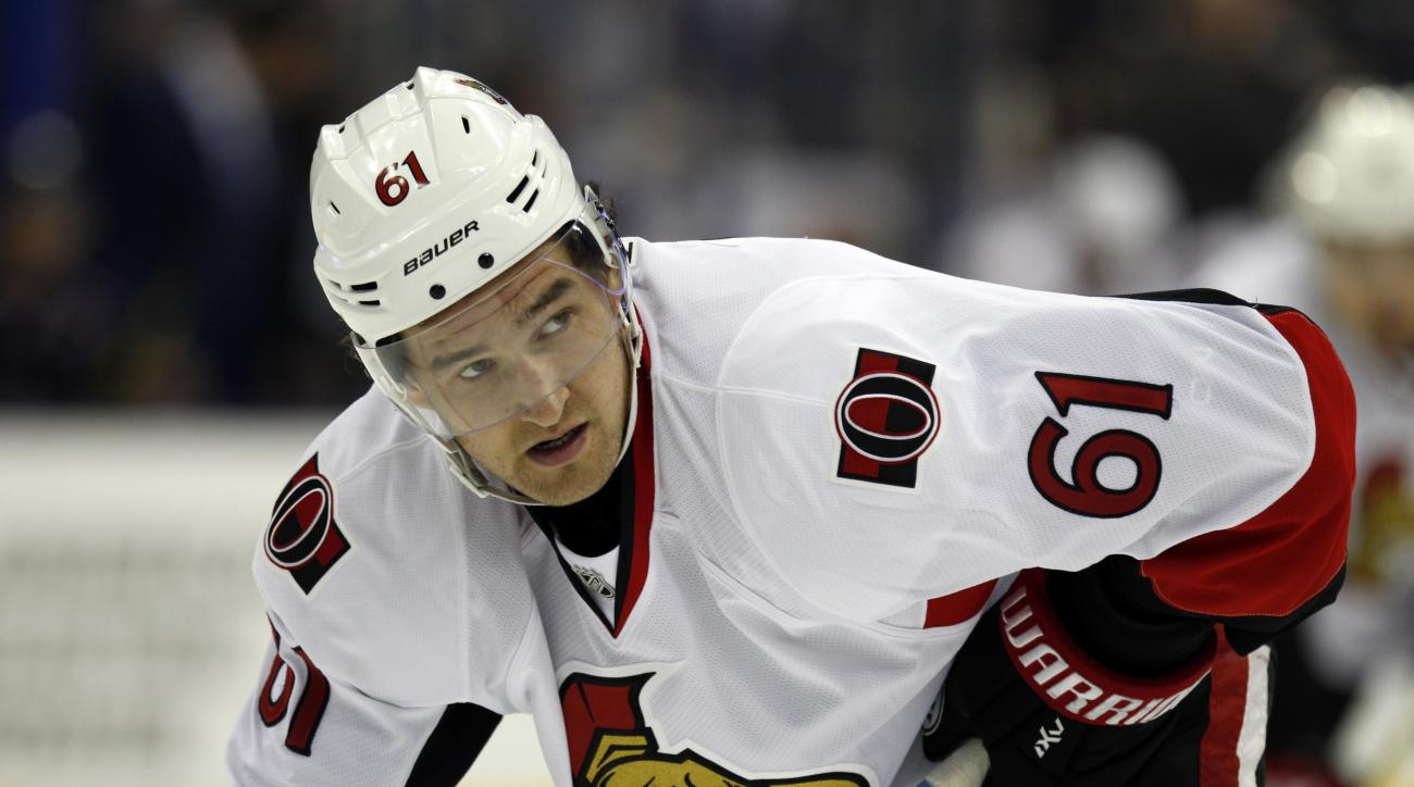Ottawa Senators' Mark Stone is seen during an NHL hockey game against the Columbus Blue Jackets in Columbus, Ohio, Wednesday, Oct. 14, 2015. (AP Photo/Paul Vernon)