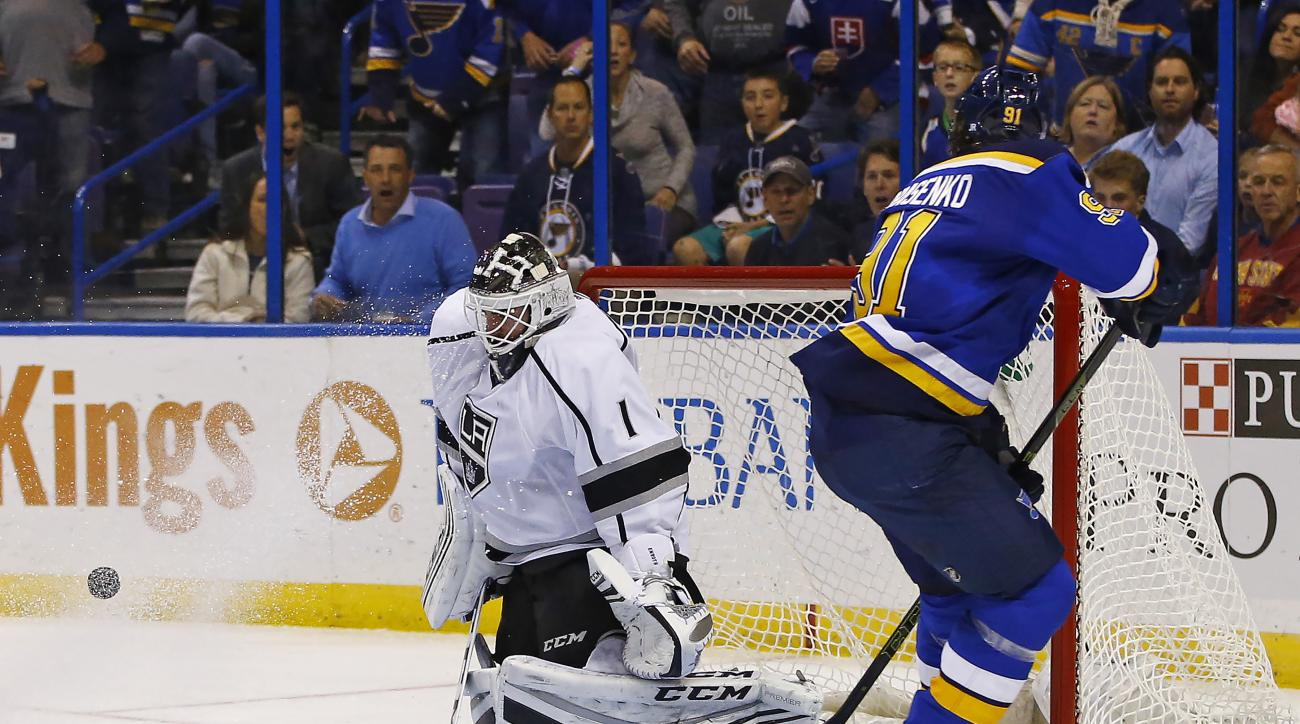 Los Angeles Kings goalie Jhonas Enroth, of Sweden, makes a save on a shot by St. Louis Blues' Vladimir Tarasenko, of Russia, during the second period of an NHL hockey game Tuesday, Nov. 3, 2015, in St. Louis. (AP Photo/Billy Hurst)