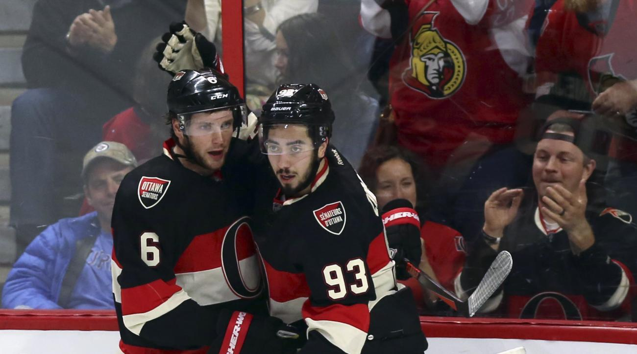 Ottawa Senators' Bobby Ryan (6) celebrates his goal with teammate Mika Zibanejad (93) during the second period of an NHL hockey game against the Winnipeg Jets on Thursday, Nov. 5, 2015, in Ottawa, Ontario. (Fred Chartrand/The Canadian Press via AP)