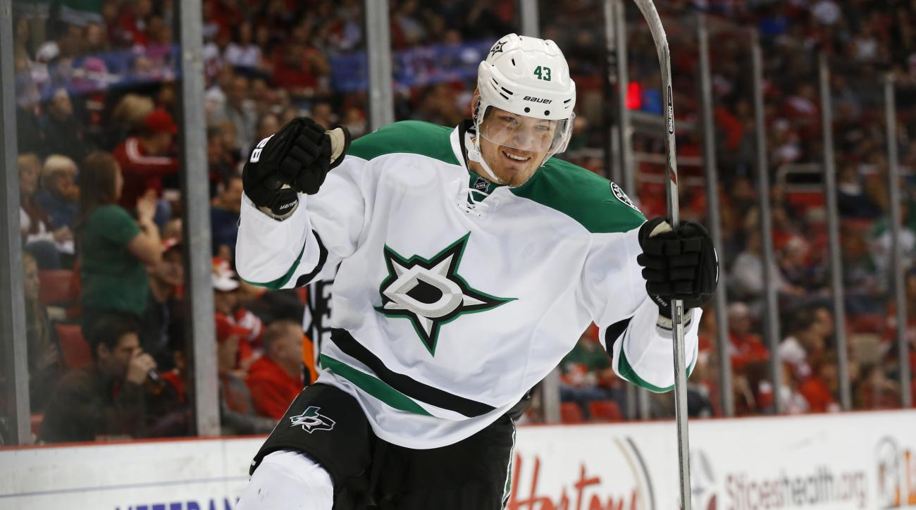 Dallas Stars' Valeri Nichushkin celebrates his goal against the Detroit Red Wings in the first period of an NHL hockey game, Sunday, Nov. 8, 2015 in Detroit. (AP Photo/Paul Sancya)